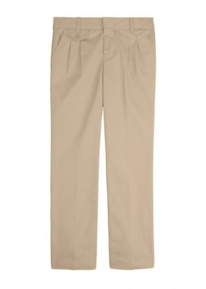 Girls Pants- Solid Color- Pleated Front-Khaki